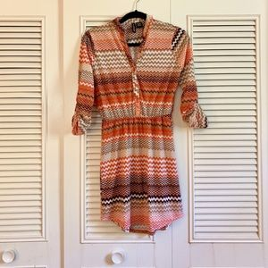 Cute Zig Zag Pattern Tunic Dress
